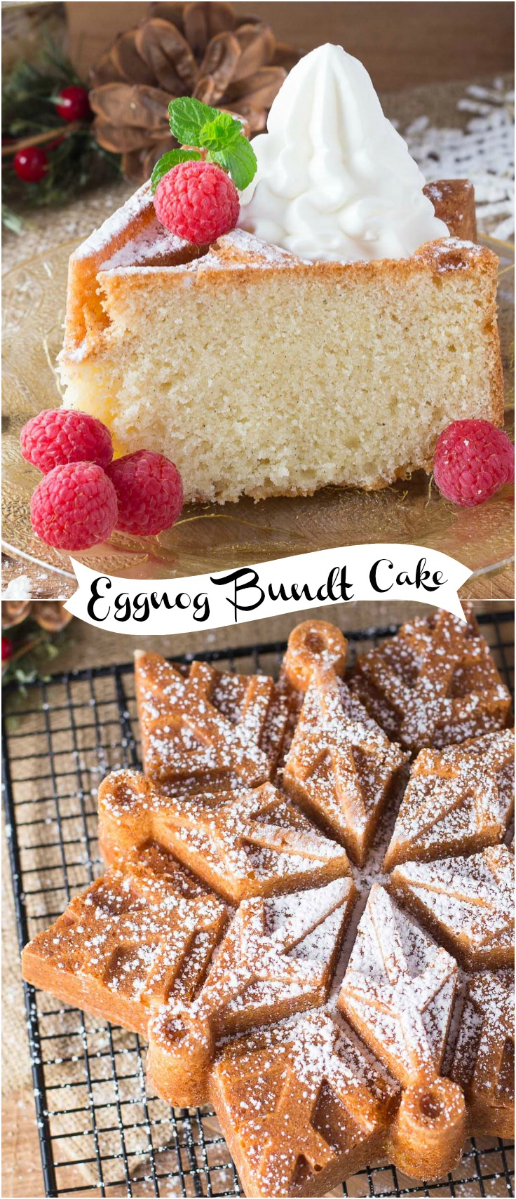 Beautiful Eggnog Bundt Cake combines the outstanding flavors of eggnog, cinnamon and nutmeg. A festive cake that is moist and delicious. via @artandthekitch