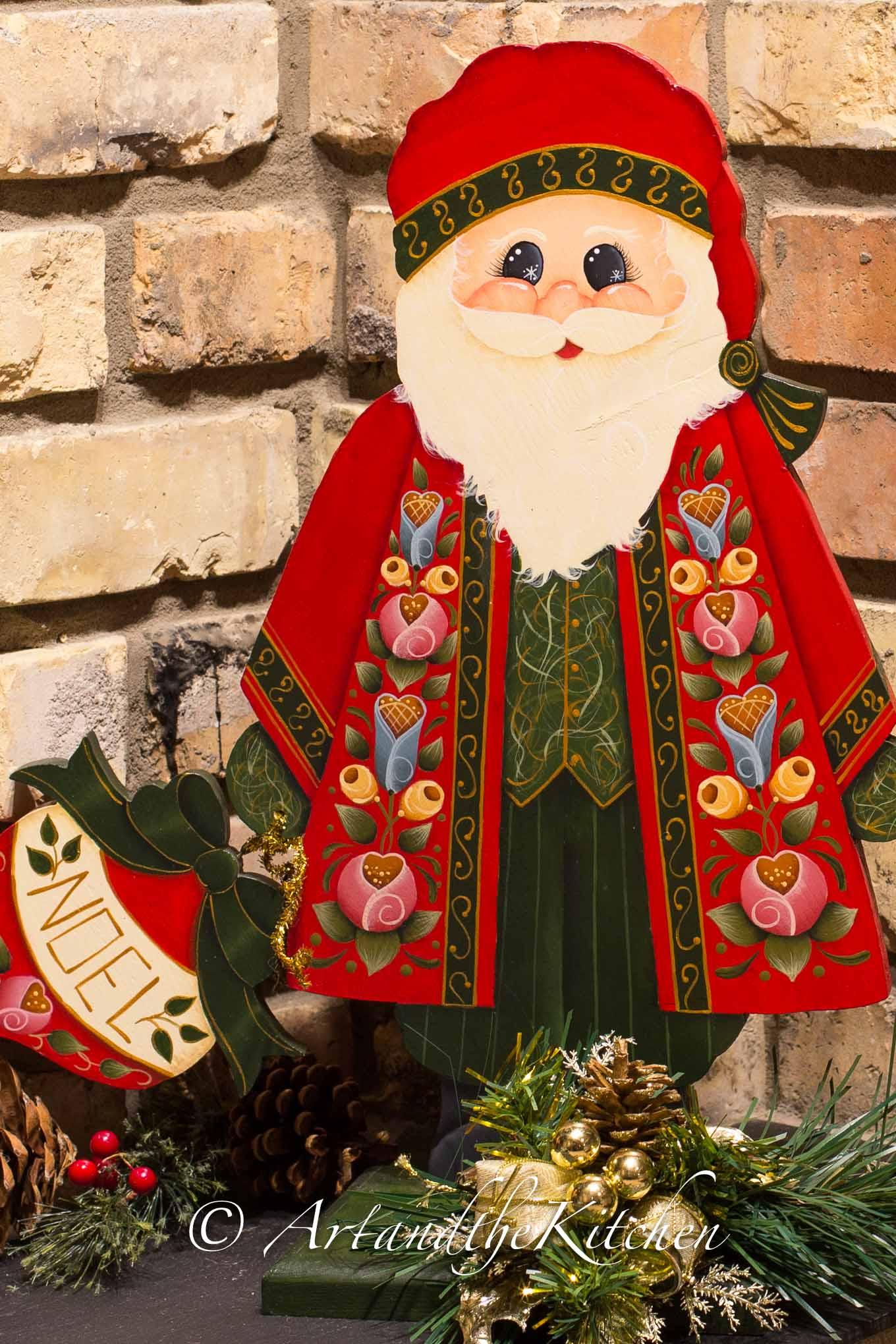 Decorative hand painted wood Santa