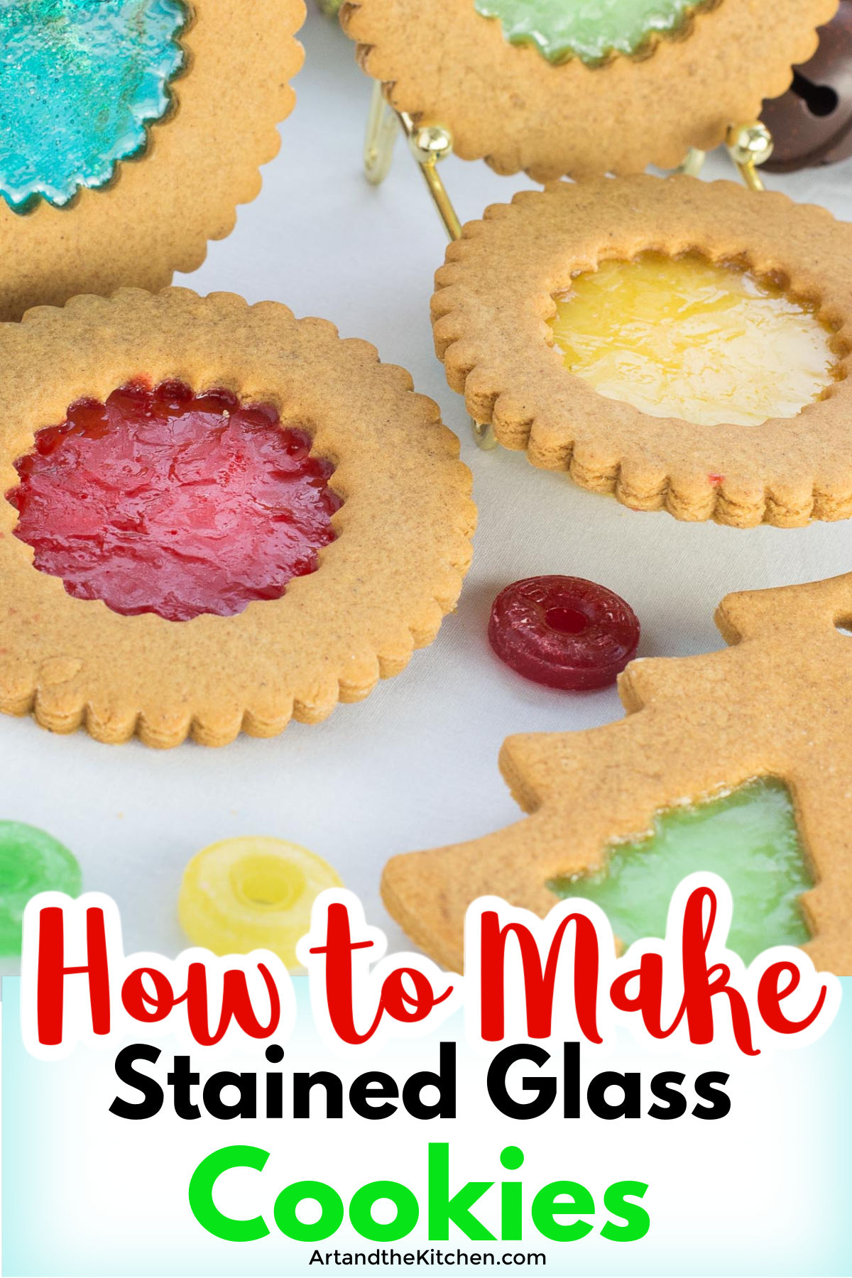 Step by step instructions and video for How to Make Stained Glass Cookies. These holiday cookies are so easy and fun to make!  via @artandthekitch