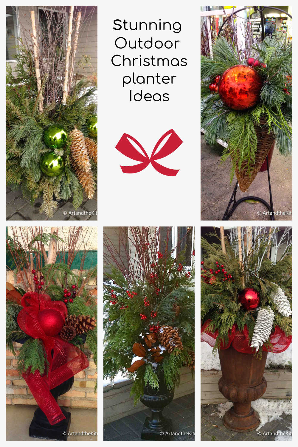Make your home stunning with an outdoor Christmas planter. Stylish Christmas urns filled with lush greenery, ribbons and decorations for a festive look. via @artandthekitch