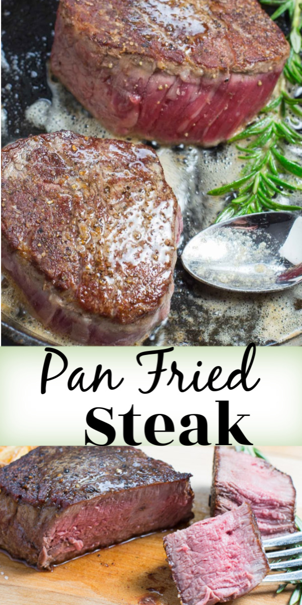 Make perfect, mouthwatering Pan Fried Steak during those cold winter months when the BBQ is tucked away. A cast iron frying pan is a great tool to use for making tender, juicy steak! via @artandthekitch