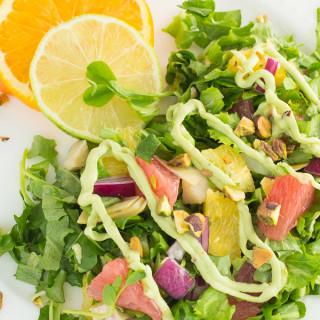 Citrus Salad with Artichokes, Pistachios & Avocado Dressing