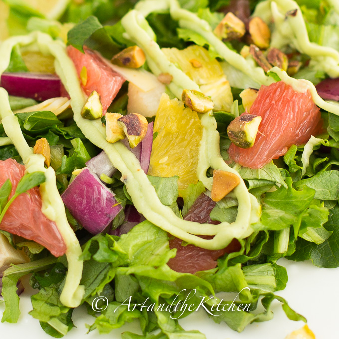 Citrus Salad with Artichokes Pistachios Avocado Dressing