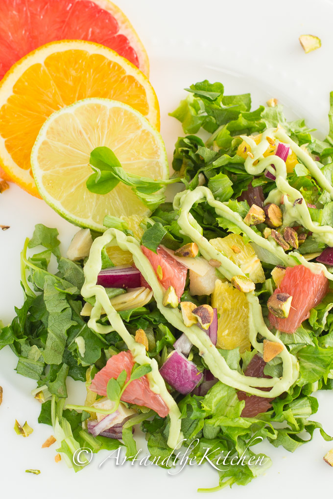tossed with fresh greens then topped with creamy avocado dressing