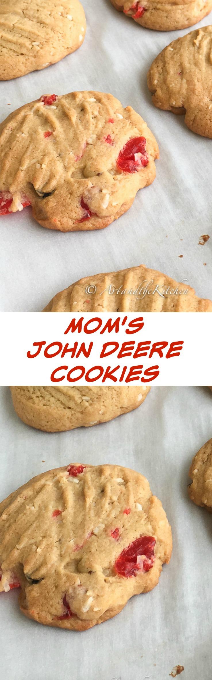 Mom's Cookie recipe, these John Deere cookies combine some great flavours like maraschino cherries, walnuts and coconut. via @artandthekitch