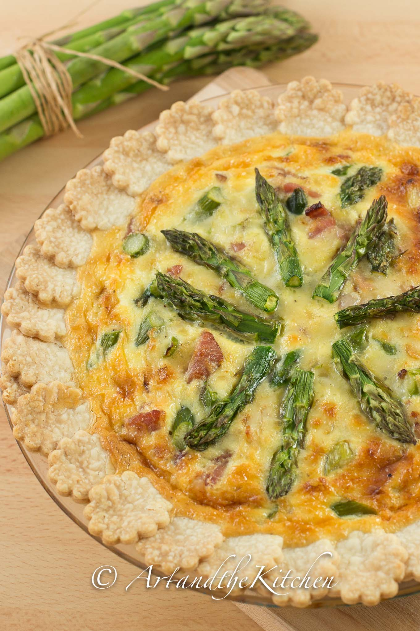 spring fresh asparagus and gruyere cheese quiche art and the kitchen. Black Bedroom Furniture Sets. Home Design Ideas