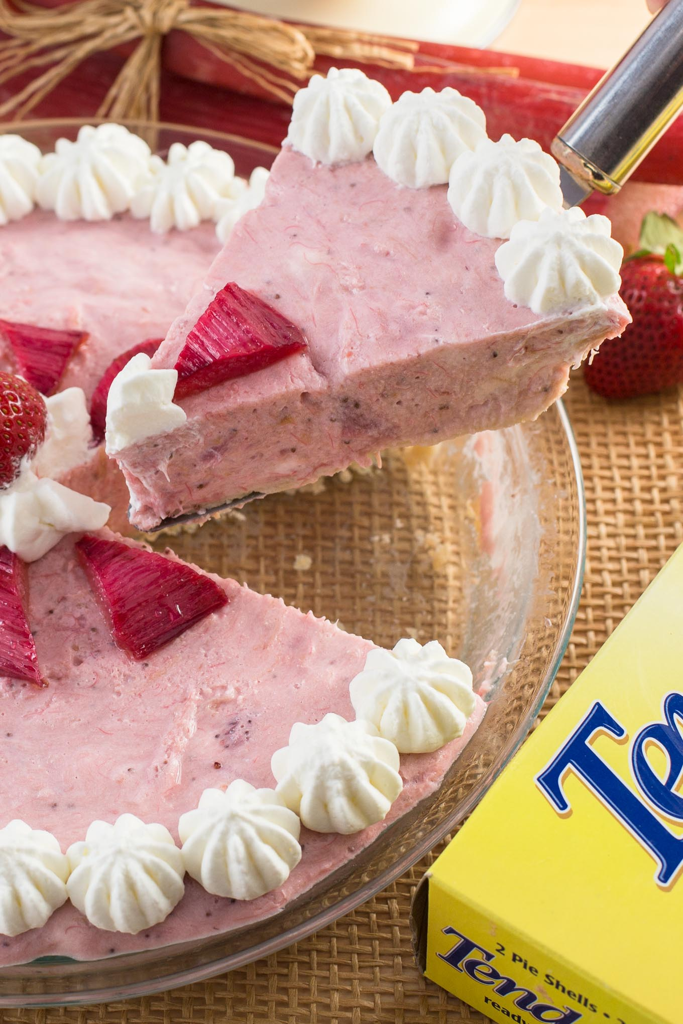 Strawberry Rhubarb Mousse Pie