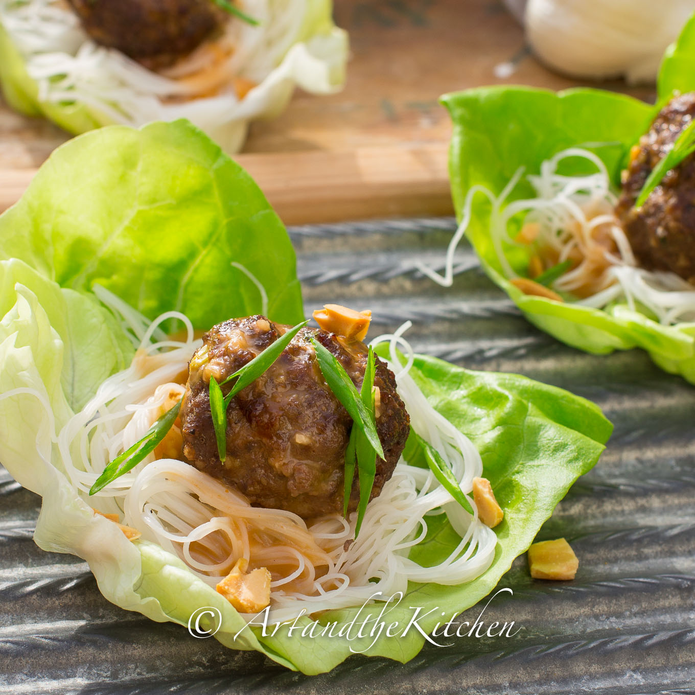 Meatball and Rice Noodle Lettuce Wraps