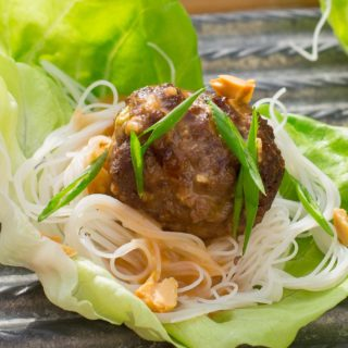 Meatball Rice Noodle Lettuce Wraps