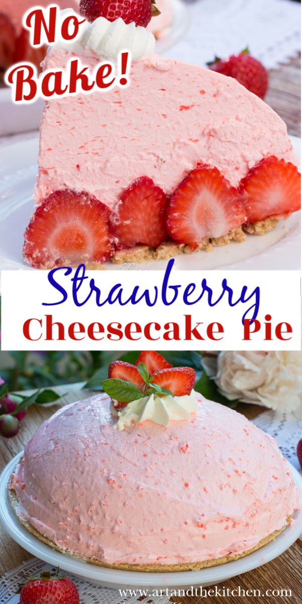 Delicious no-bake strawberry pie. Light and fluffy with cream cheese and fresh strawberries. via @artandthekitch