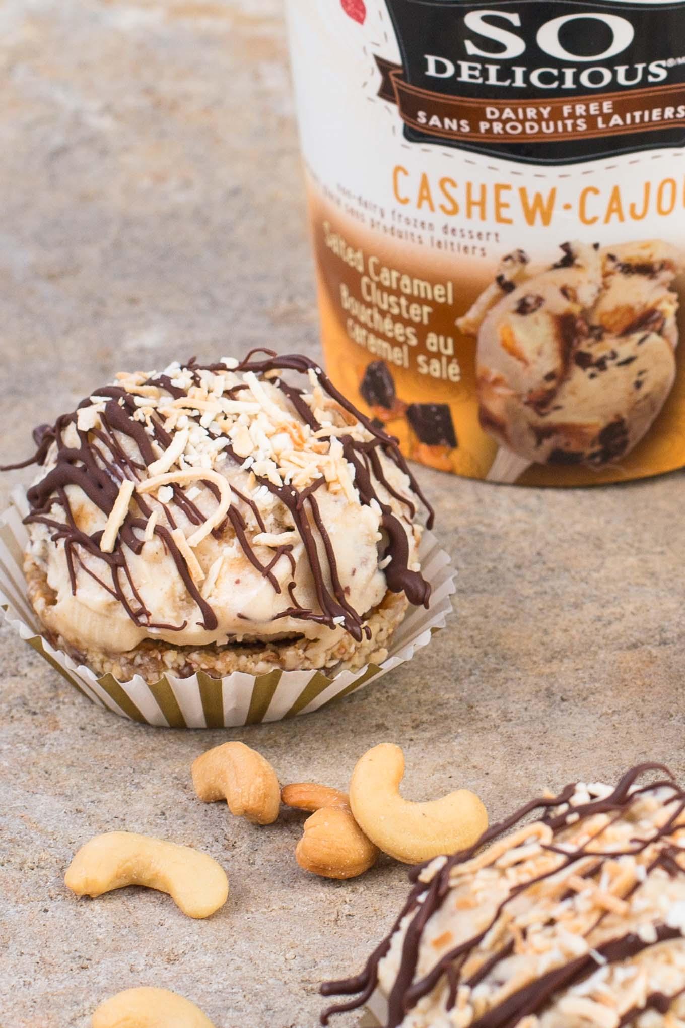Cashew Caramel Frozen Dessert Tarts
