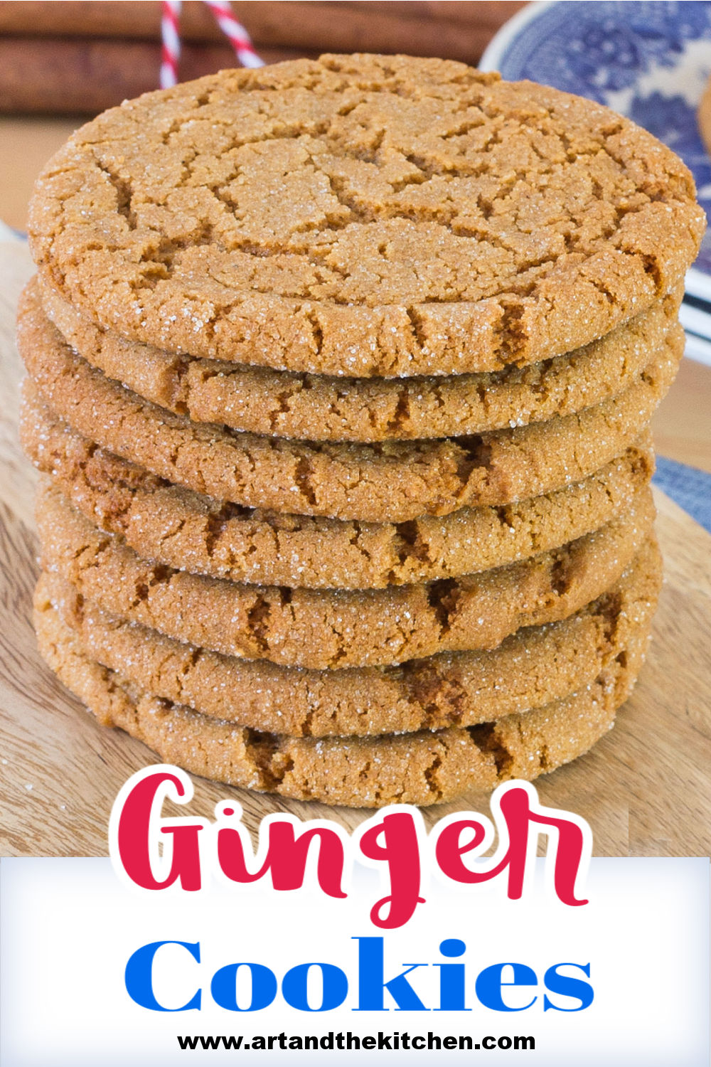 Ginger Cookies that are perfectly spiced with tasty ginger and molasses. Crispy on the outside and chewy on the inside. via @artandthekitch