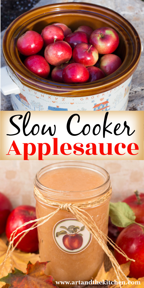 Healthy Slow Cooker Applesauce, this easy recipe requires no peeling of apples so it is perfect for small apples.