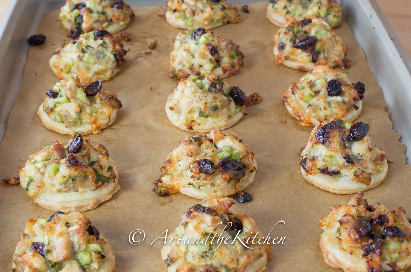 Turkey Cranberry Puff Pastry Bites