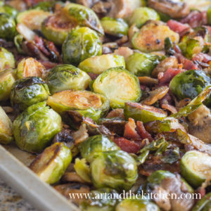 Brussels Sprouts oven roasted to perfection with bacon and mushrooms.