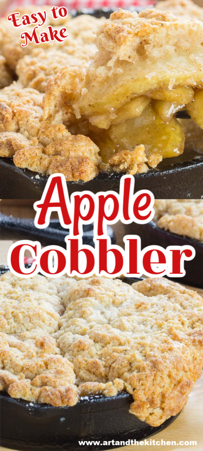 Apple Cobbler is a favorite apple dessert that is easy to make! Savory cinnamon apple filling topped with a buttery crisp crust. via @artandthekitch