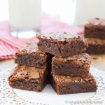 Stack of chocolate brownie squares.