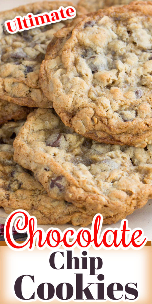 This recipe for Ultimate Chocolate Chip Cookies makes a cookie that is crisp on the outside and the oatmeal give them a chewy inside.