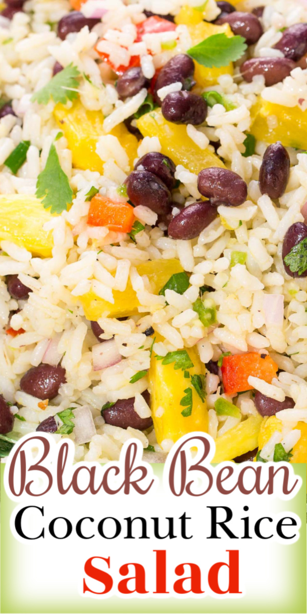 Black Bean Coconut Rice Salad is a colorful, zesty salad with a delicious combination of ingredients like coconut-infused rice, beans, bell peppers, red onion, and pineapple.  via @artandthekitch