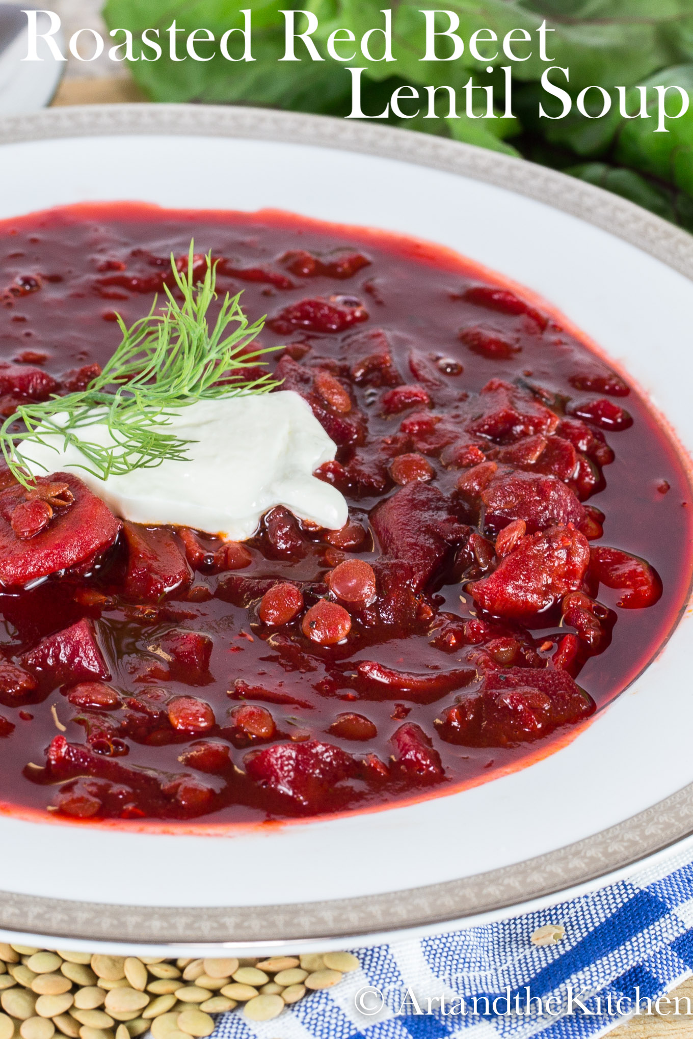 Roasted Red Beet Lentil Soup