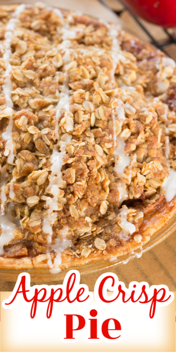 Apple Crisp Pie is a delicious combination of good old fashioned apple pie with a crumbly oatmeal crisp top! Serve warm with a scoop of ice cream and you have one of the best apple desserts EVER!