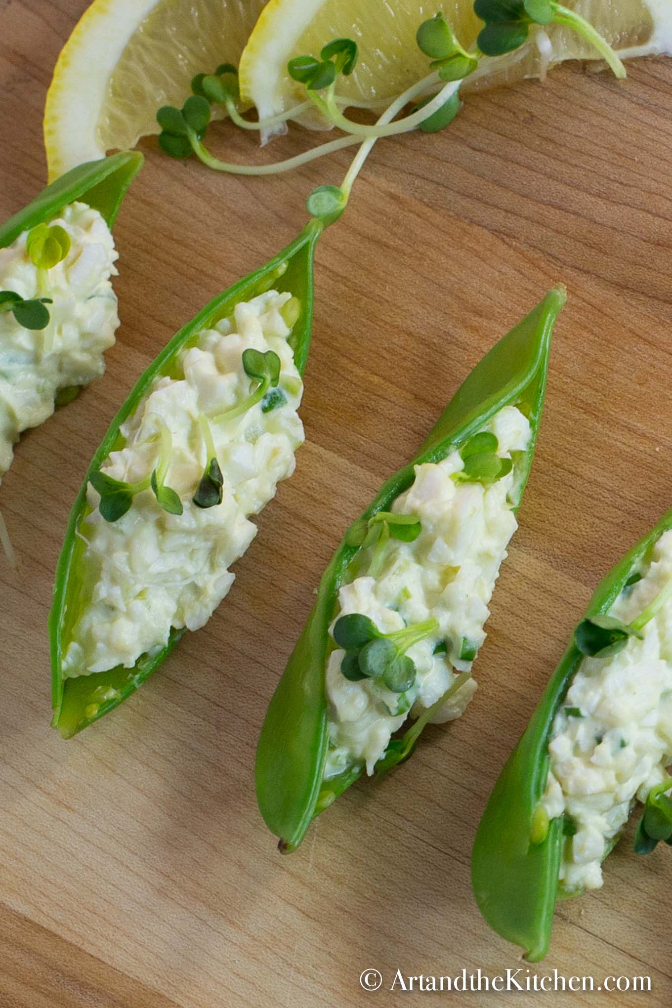 Egg Salad Stuffed Snow Peas