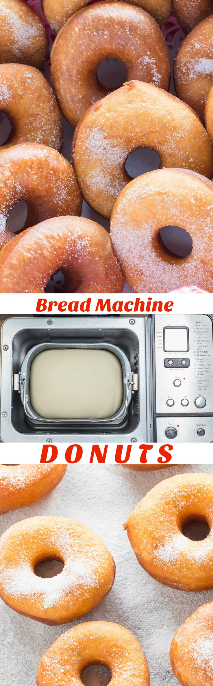 Easy Bread Machine Donuts are light and fluffy just like the ones from your favourite bakery. Sprinkle with plain white sugar, icing sugar, dip in chocolate or decorate with frosting and sprinkles. It is time to pull out that bread machine and whip up a batch of yummy homemade donuts! via @artandthekitch