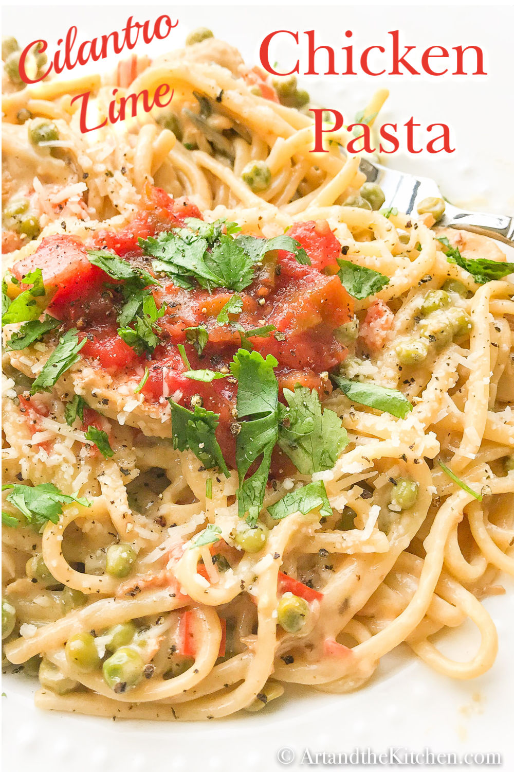 Cilantro Lime Chicken Pasta is bursting with flavour. Flavorful combination of cilantro, lime and Alfredo sauce via @artandthekitch