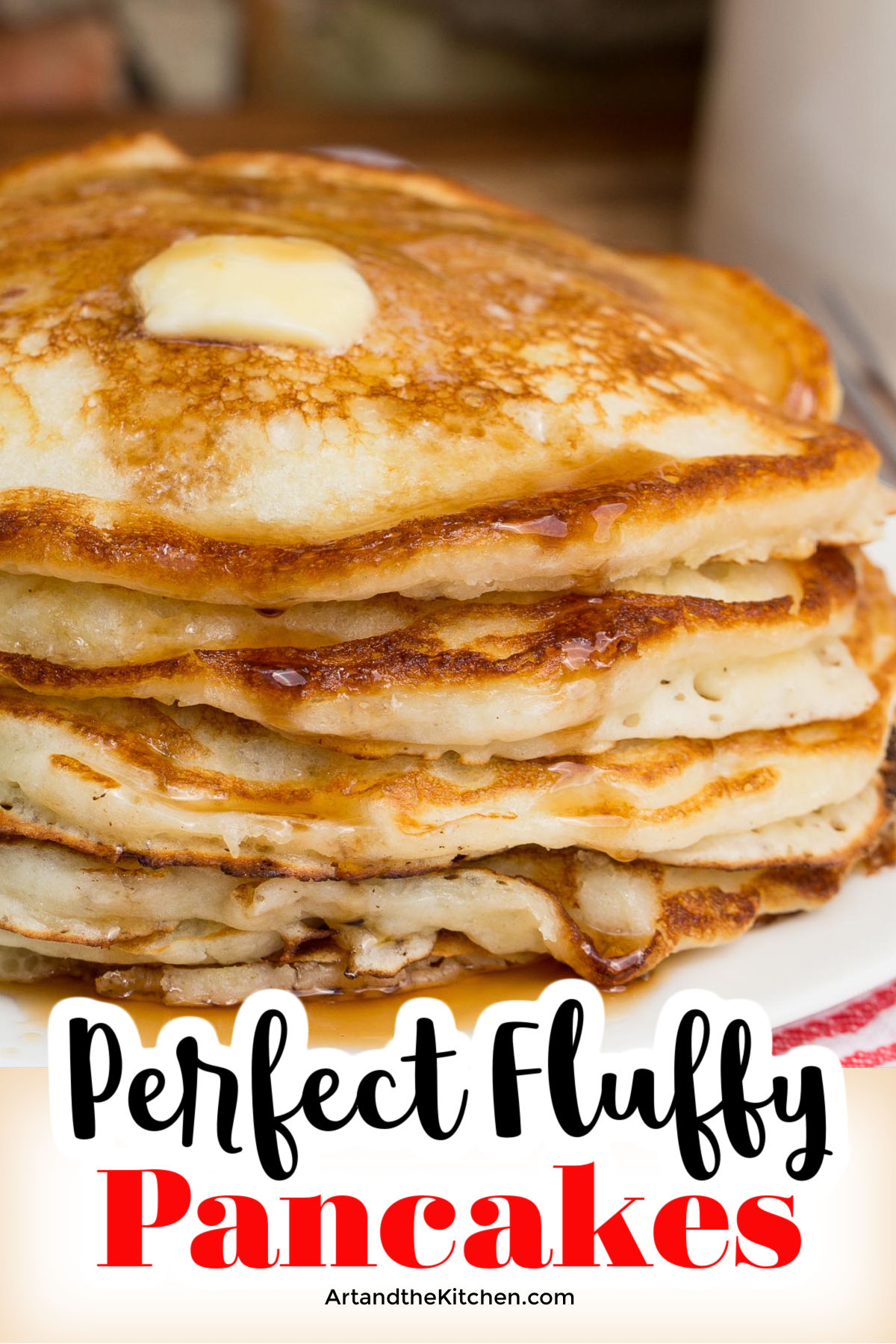 A quick and easy homemade pancake recipe that makes perfect, golden brown, super fluffy pancakes with ingredients you have on hand. via @artandthekitch