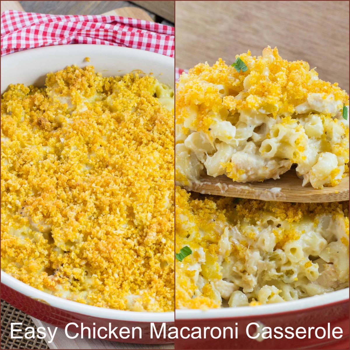 Chicken Macaroni Casserole is a quick and easy recipe. A cheesy casserole the kids will love. Great for leftover chicken or store bought rotisserie chicken.