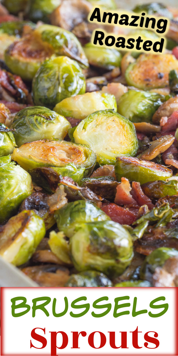 Brussels Sprouts oven roasted to perfection with bacon and mushrooms.  via @artandthekitch
