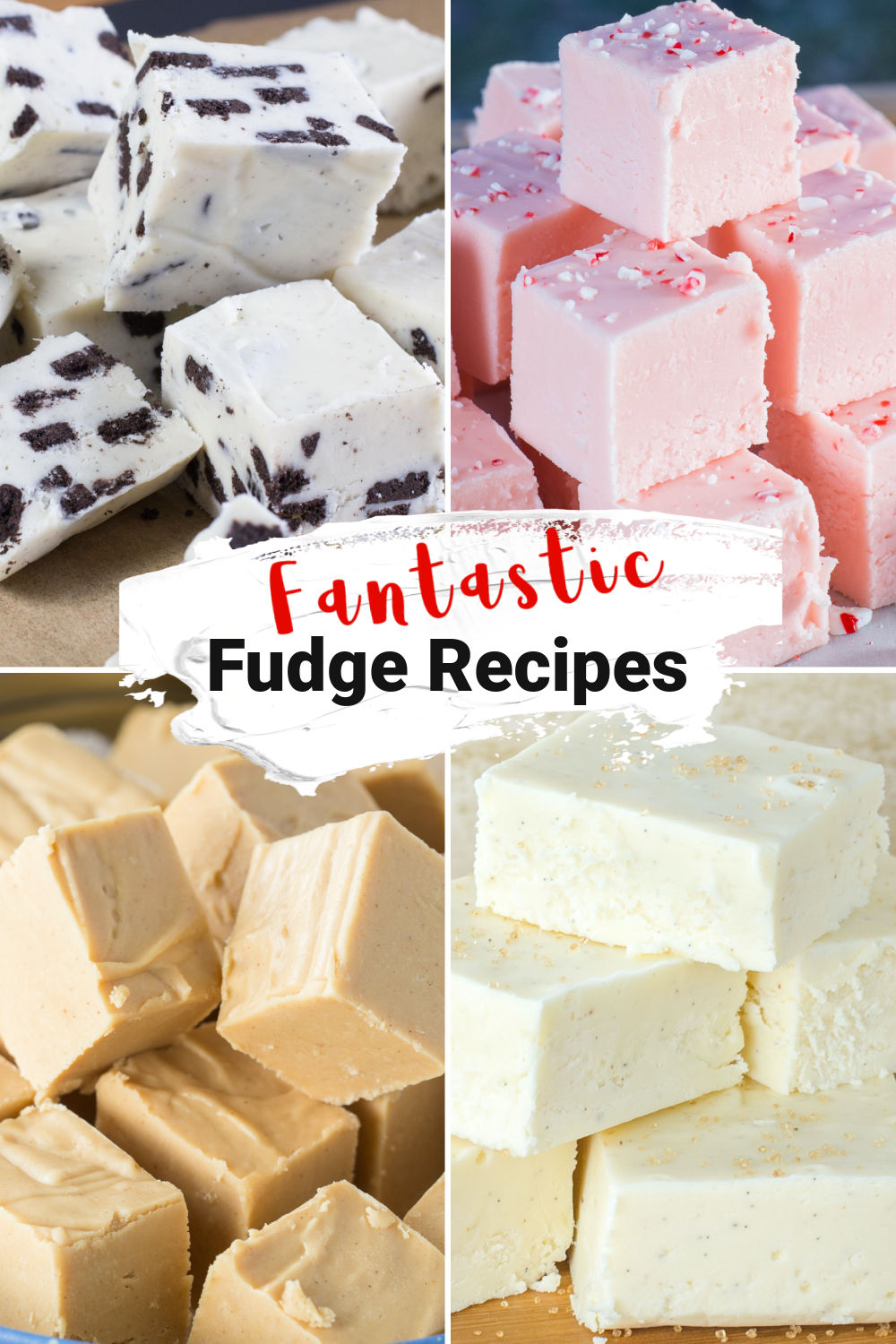 Stacks of fudge, cookies and cream, candy cane, peanut butter, and eggnog.