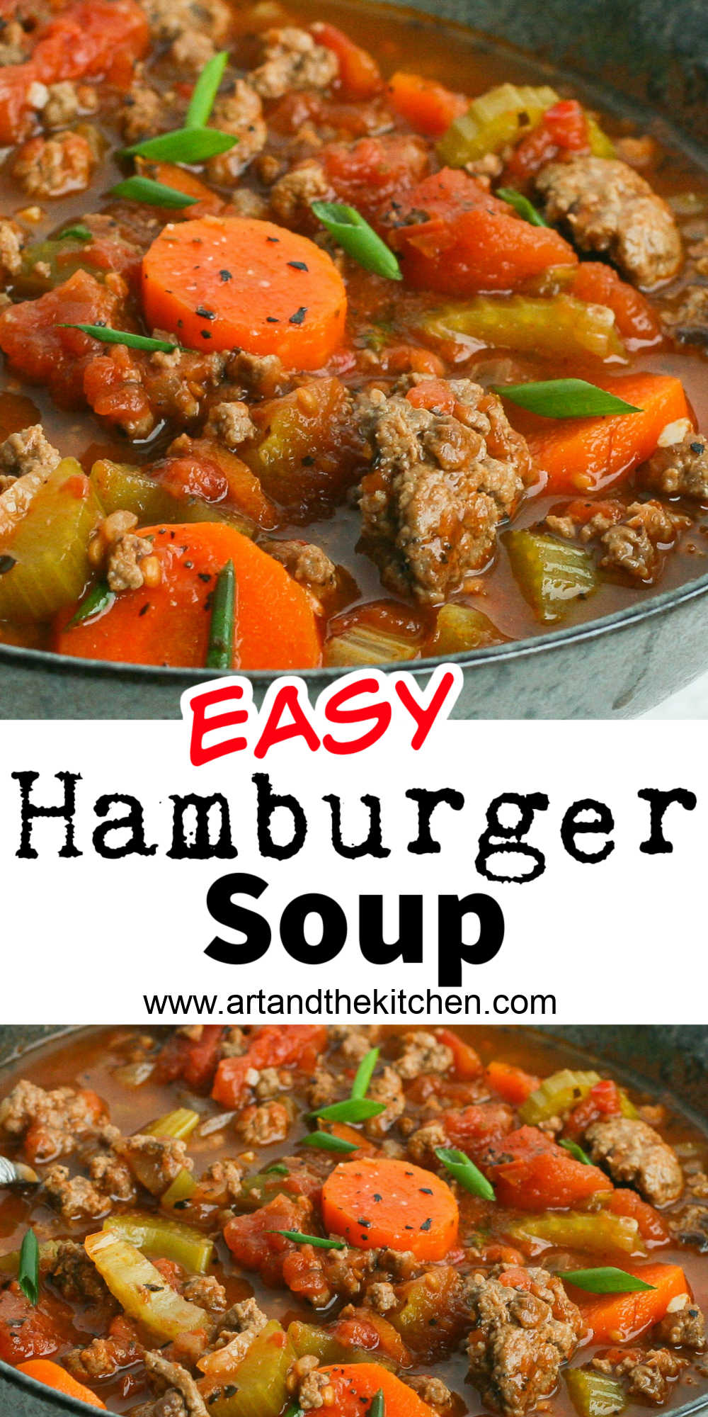 Easy Hamburger Soup is simple and quick to make with lean ground beef and a combination of savory spices. This basic soup recipe is great to put your own twist on by adding a variety of vegetables, pasta, potatoes or even rice. via @artandthekitch