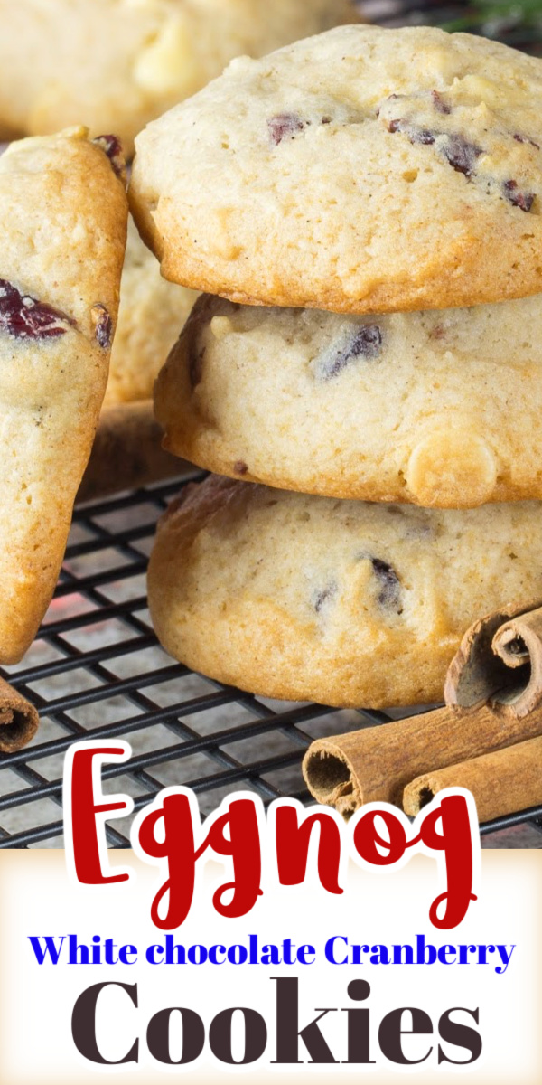 The perfect Christmas cookie recipe!  Eggnog White Chocolate Cranberry Cookies are loaded with delicious Holiday spice flavor, dry cranberries and white chocolate chips. via @artandthekitch