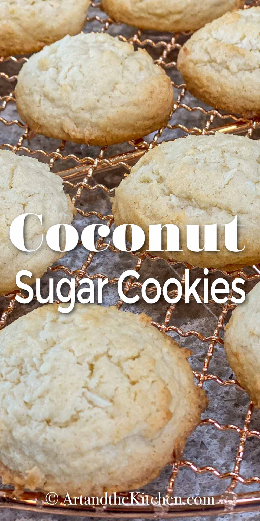 Great tasting Coconut Sugar Cookies that bake up with crisp edges and a soft center. The shredded coconut gives these cookies a great chewy texture. via @artandthekitch